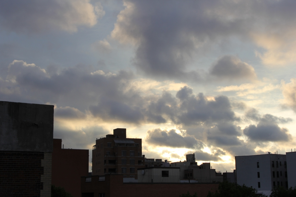 puffy clouds over queens rooftops at dawn