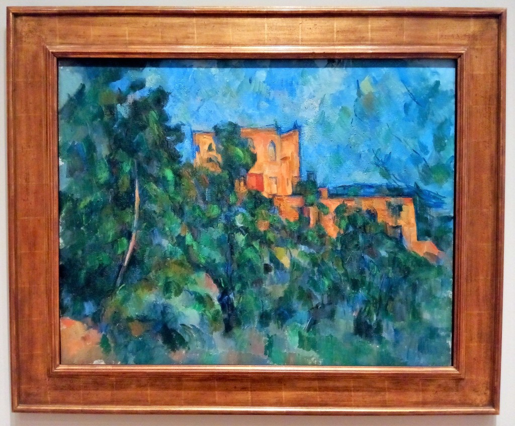 Cezanne landscape. a building peeking out from behind trees that cover the left hand side of the image. baby blue sky