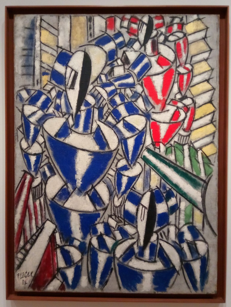 photo of an abstract painting. cubist but rounded edges. figures somewhat resembling those wood adjustable figures for sketching. blue, red, yellow left to right