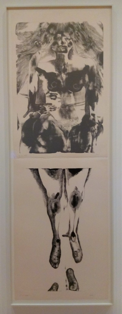 photo of a black and white painting of a naked woman, kind of minimalist de kooning - two separate framed panels stacked vertically