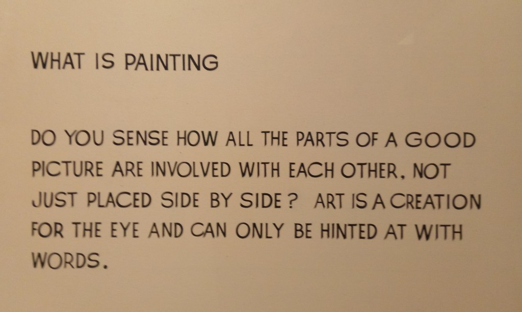 a painting of text: what is painting do you sense how all the parts of a good picture are involved with each other, not just placed side by side? art is creation for the eye and can only be hinted at with words.
